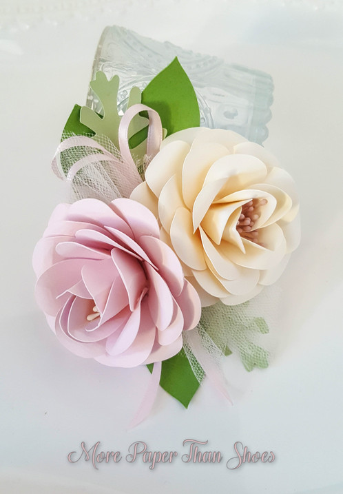 Paper Flower Corsage Pink And Ivory