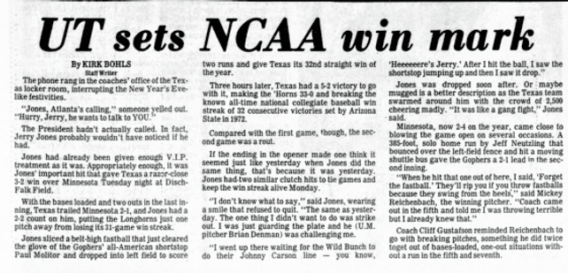 NCAA Longest Winning Streaks Texas UT 19