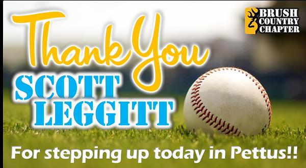 TY Thank You Scott Leggitt for stepping
