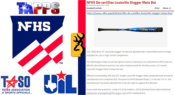 NFHS Decertifies Louisville Slugger Meta