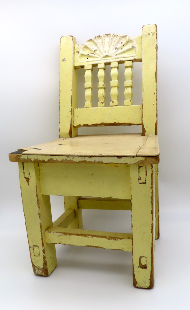 Yellow Painted & Carved Child's Chair