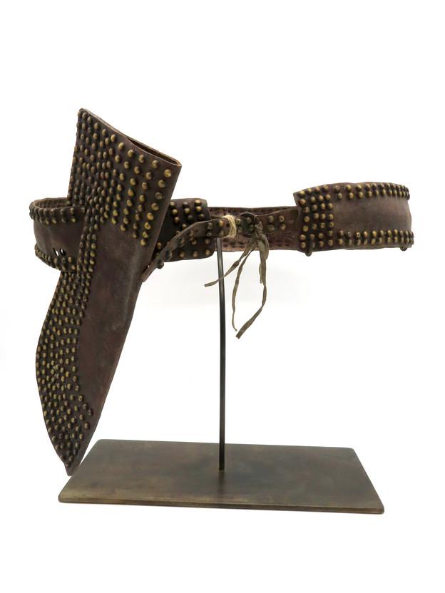 Early Brass Tack Embellished Knife & Sheath with Belt