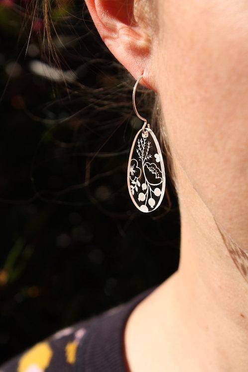 Dew drop earring long sterling silver hook
