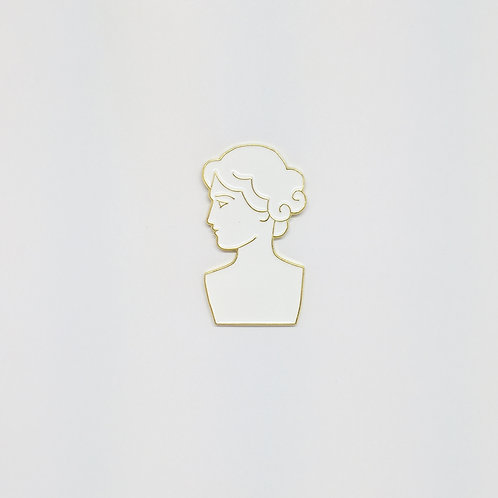 Shelf Life Pin Roman Bust White