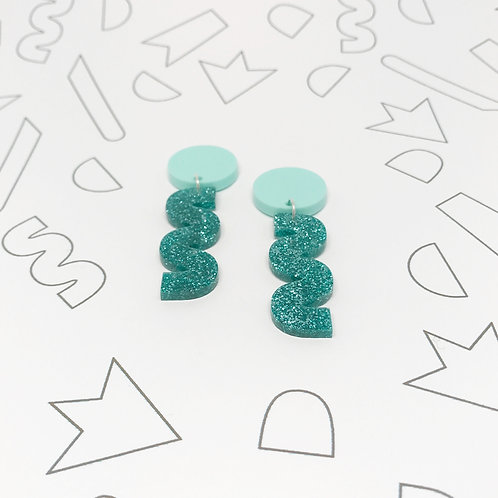 Squiggle Earrings in Teal Glitter