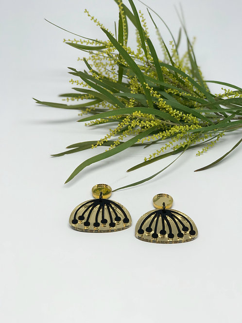 Gold and Black Umbel Drop Earrings