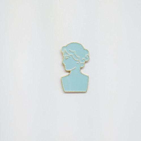 Shelf Life Pin Roman Bust Blue
