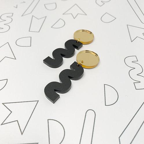 Squiggle Earrings in Black