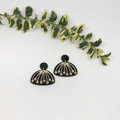 Black and Gold Umbel Drop Earrings