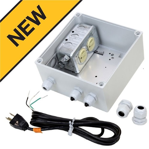 Outdoor IP-67 RUGGED 15Amp / 120Volt Duplex - Pole or Wall Mount Electrical Junc