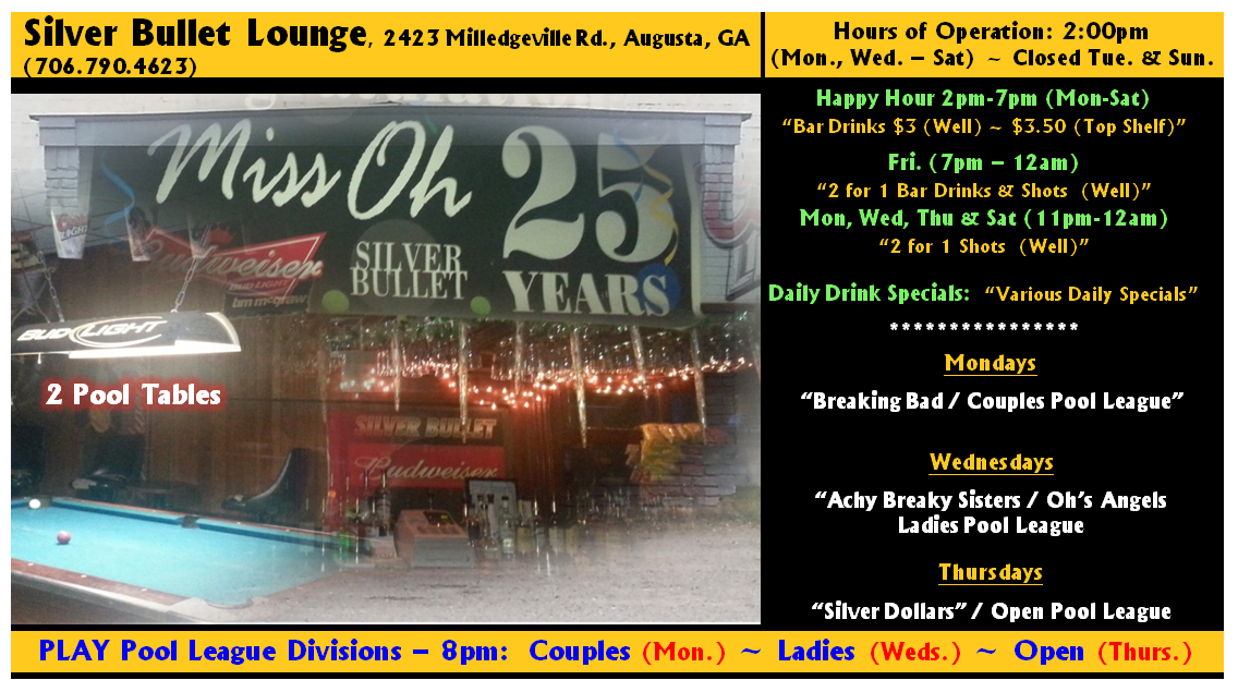 Silver Bullet Lounge Hrs. & Info.png