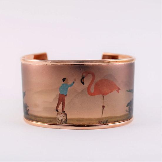 """Bracelet Manchette """"L'enfant et le flamant rose"""""""