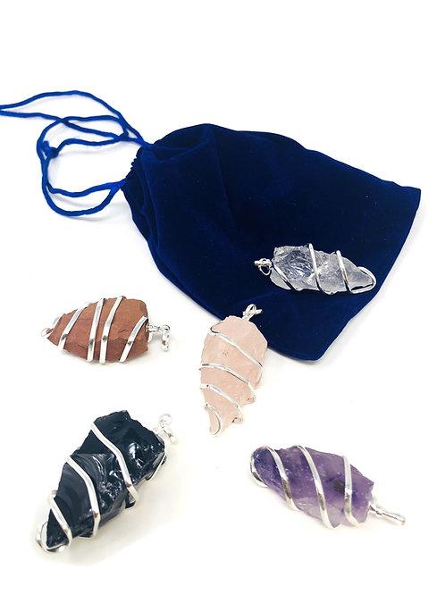 Rough Wrap Gemstone Pendant