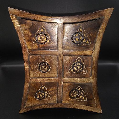 Wooden Handicraft Curved Storage Almirah