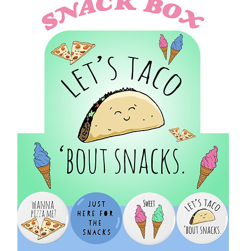 """1"""" Button Pin Snack Themed"""