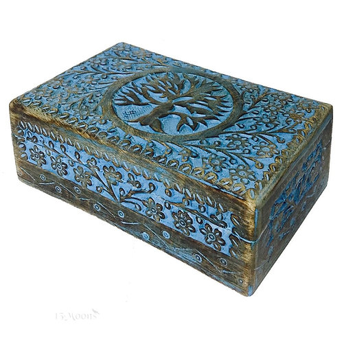 Wooden Handicraft Carved Painted Stash Box