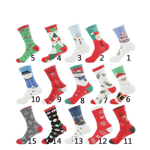 Christmas Holiday Socks Cotton Knit Crew