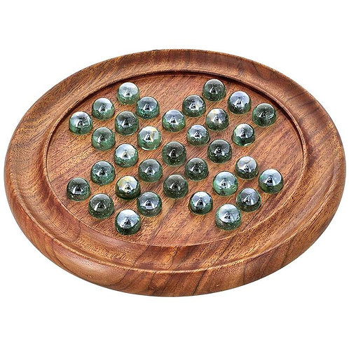 Wooden Solitaire Board with Glass Marbles