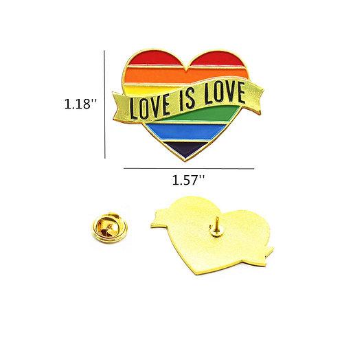 Pride Pin Heart Rainbow Gay Pride Flag LGBT Enamel Lapel Pin