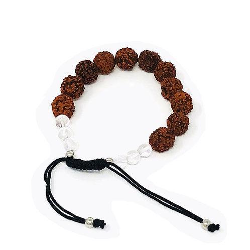 Rudraksha  & Crystal Beaded Bracelet