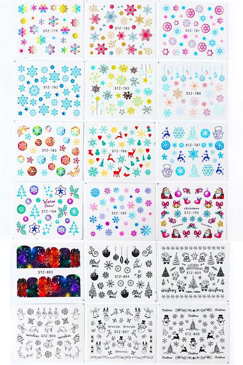 Christmas Nail Art Stickers Water Transfer Decals