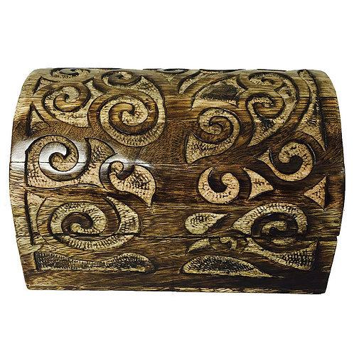 Handicraft Wood Domed Carved Stash Box