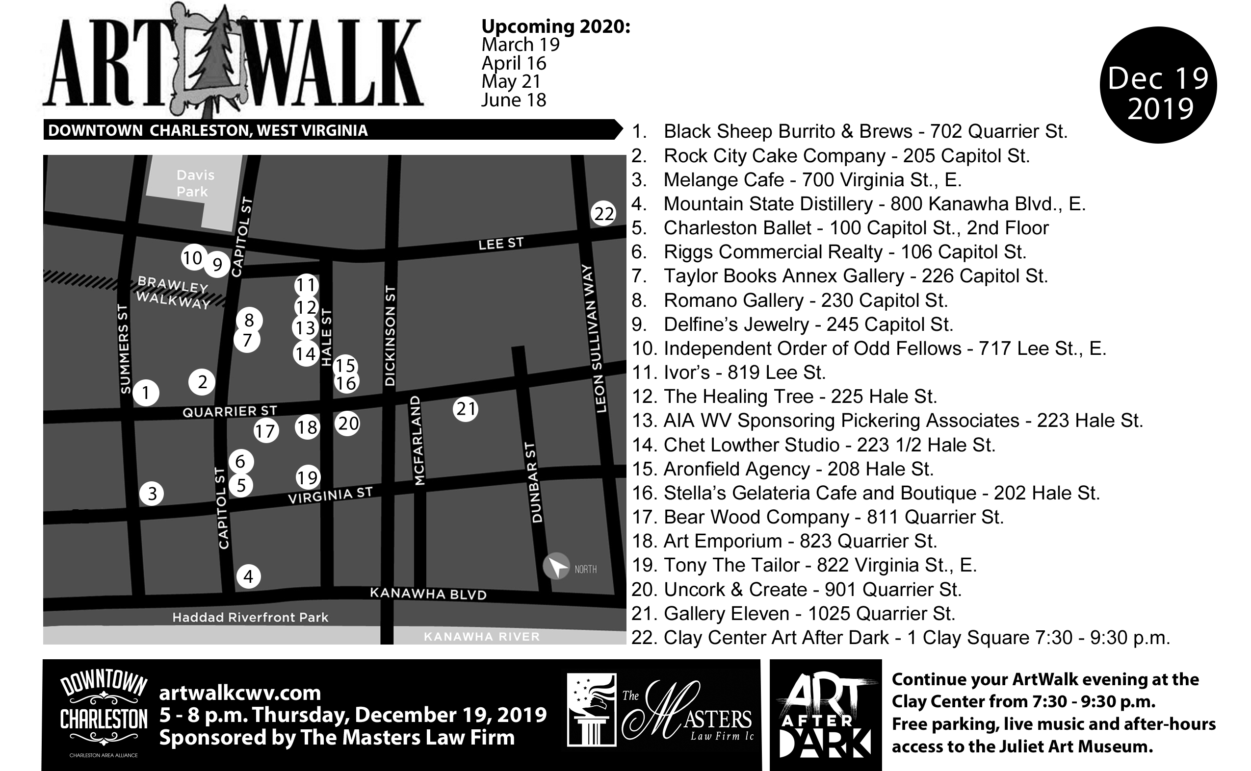 ArtWalk December Map 2019