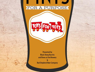 Black Sheep Burrito & Brews Pints For A Purpose for Toys for Tots