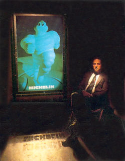 1.5m by 1m Michelin man hologram produced for the Stoke on Trent festive in 1987