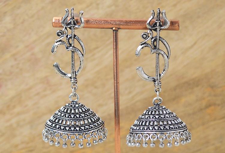 Trishool OM Oxidized Jhumka Earrings