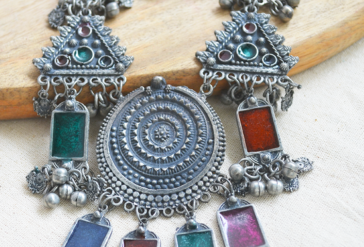 Oxidized Meenakari Necklace and Earrings Set