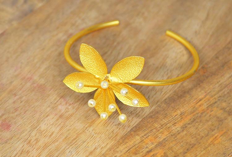 YURI - Gold Dust and Pearl Lily Flower Kada Bangle