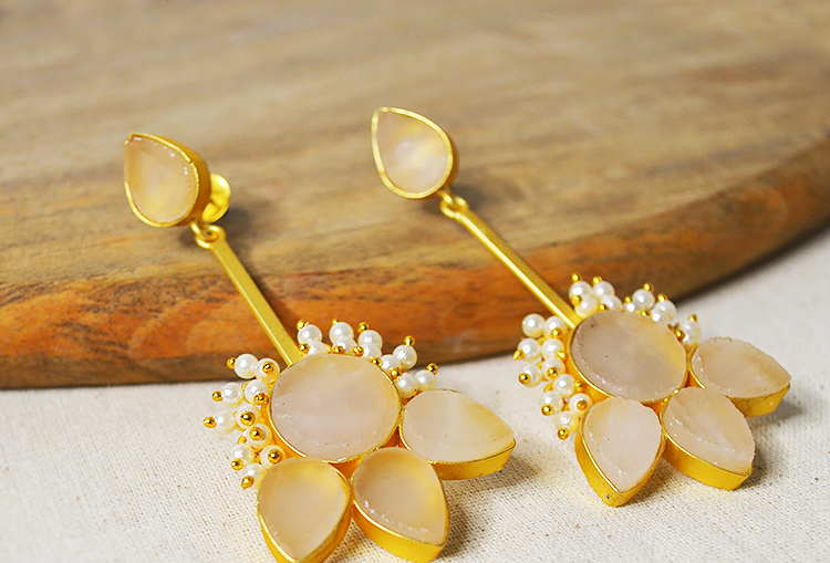 ADORA : Raw Druzy Crystal and Pearls Flower Earrings