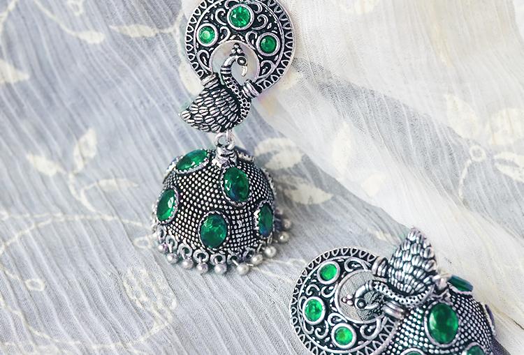 MAYURI - Stone Studded German Silver Jhumka Earrings