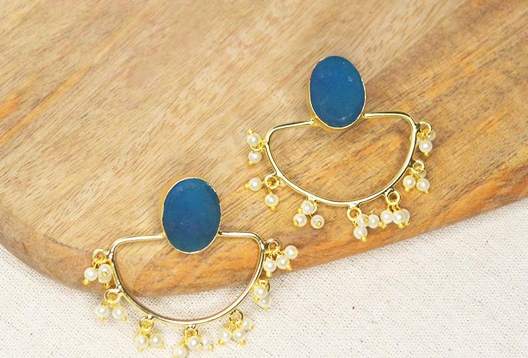 ADORA - Raw Druzy Crystal and Pearls Leheriya Brass Base Gold Polish Earrings