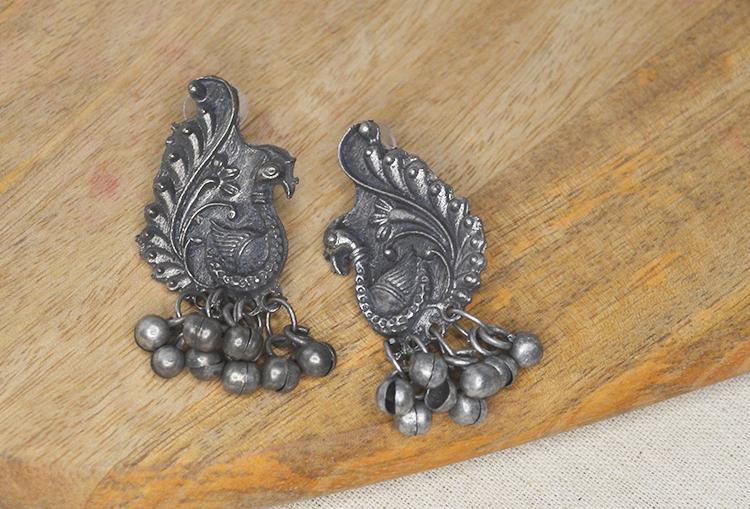 Peacock Ghungroo Stud Earrings