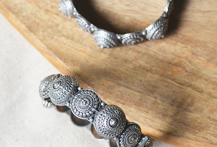 MANDALA KANGANA - Silver Look Alike Brass Adjustable Motif Bangle