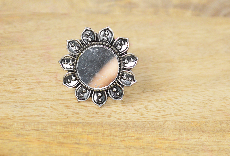 KUMUD AAINA - Lotus Flower Mirror Oxidized Silver Finger Ring