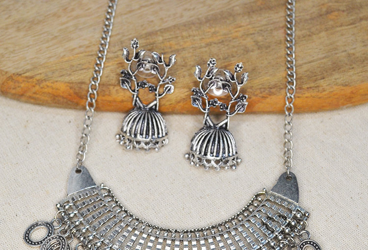 Tree Jhumka and Oxidized Chain Necklace Set