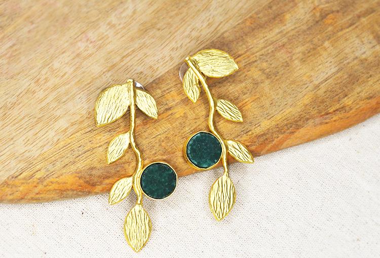 ADORA - Raw Druzy Crystal Leaf Brass Base Gold Polish Earrings