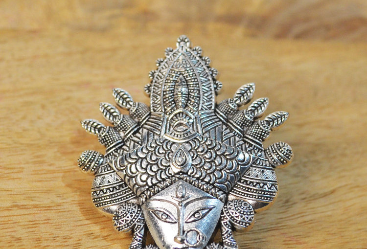 Maa Durga Mega Size Oxidized Silver Tone Finger Ring