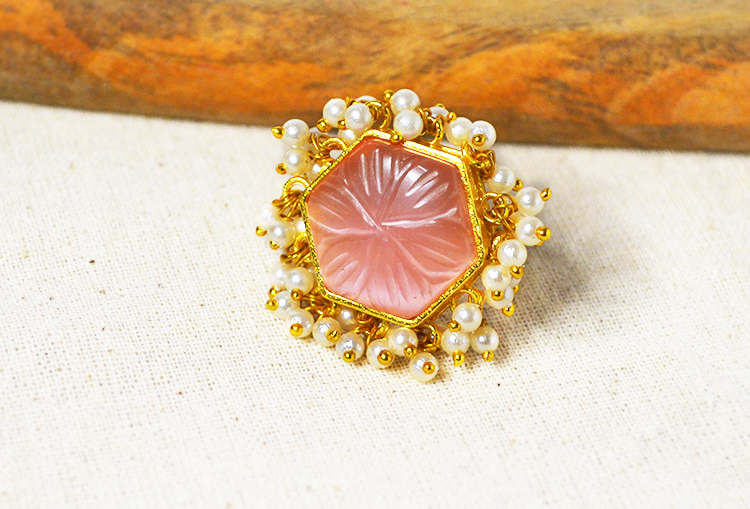 Carved Coral and Pearl Finger Ring