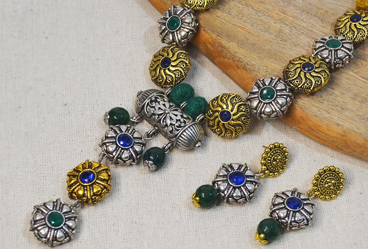 Dual Tone Victorian Bead Necklace Set