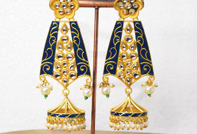 Meenakari Kundan and Pearl Jhumka Earrings