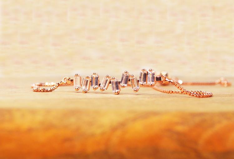 HeartBeat Cubic Zirconia Crystal Rose Gold Adjustable Bracelet