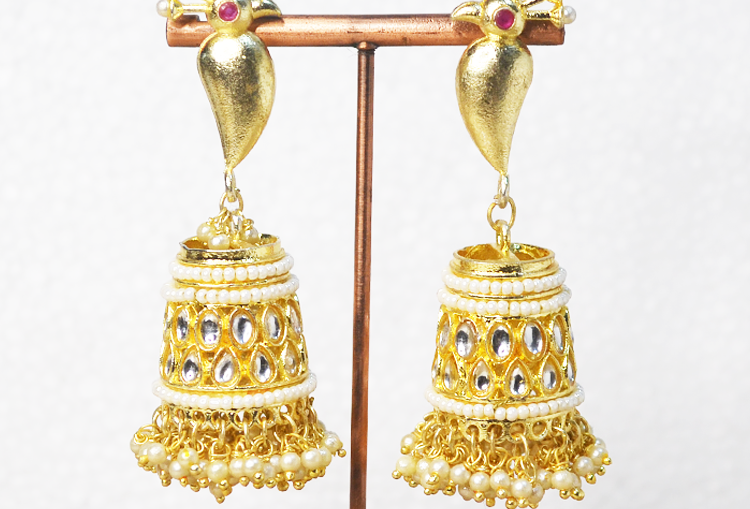 Gold Brushed Pearl and Kundan Peacock Jhumka Earrings