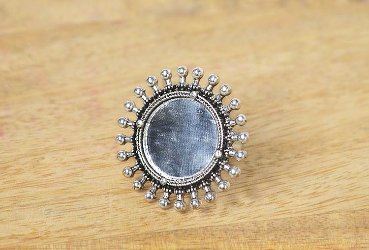 AVI - Sun Mirror Oxidized Silver Finger Ring