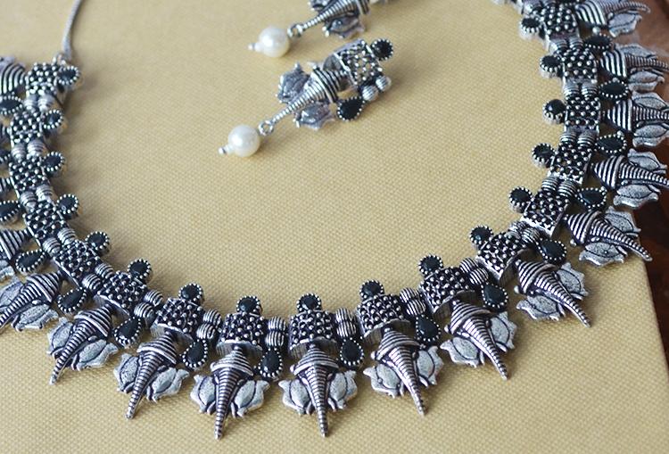 GAJANAN - Ganpati Stone Studded Choker Necklace and Earrings Set