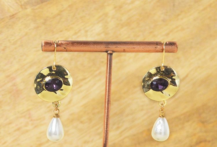 Golden Amethyst Pearl Drop Earrings