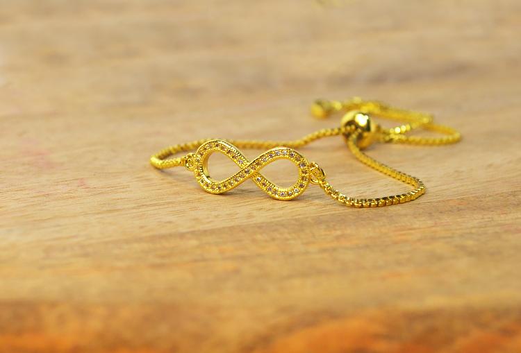 Infinity Cubic Zirconia Adjustable Gold Bracelet